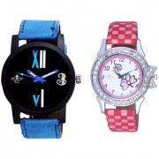 Fancy Number Black Dial And Pink Flowers Couple Analogue Watch By Vivah Mart