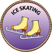 Ice Skating Award, 1 inch dia Gold Pin 'Recreation Collection' by Keepsake Awards