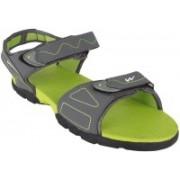 Action Campus Men Dark Grey Pista Green Sports Sandals