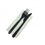 Tacamuri Negre de Unica Folosinta din Plastic, 100 Buc/Bax, Set Tacamuri de Unica Folosinta, Tacamuri Catering, Tacamuri Fast-Food