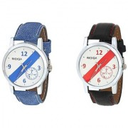 RIDIQA Analog Blue Denim Strap White Dial Stylish Watch for Men's combo RD-082-83