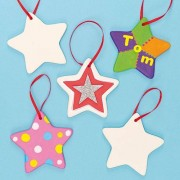 Baker Ross Ceramic Stars - 5 Star-Shaped Hanging Decorations to Paint and Decorate. Star size 9cm. Perfect for a children craft activity.