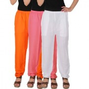 Culture the Dignity Women's Rayon Solid Casual Pants Office Trousers With Side Pockets Combo of 3 - Orange - Baby Pink - White - C_RPT_OP2W - Pack of 3 - Free Size
