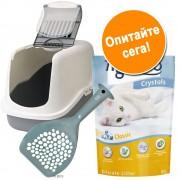 Хигиеничен комплект за котки: тоалетна, постелка и лопатка, на изгодна цена! - комплект от 3 части