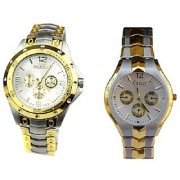 Rosra Gold -Silver And Rosra Silver -Gold Dial White Women Watches Couple For Men and Women