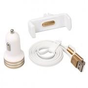Baseus - Universele Telefoonhouder Auto Ventilatiehouder Micro-USB en Lightning Autolader Kit Wit