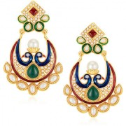 Sukkhi Prettly Peacock Gold Plated Australian Diamond Earrings
