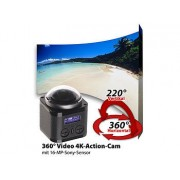 360°-4K-Action-Cam, 16-MP-Sony-Sensor, 24 B./Sek., Fernbedienung, IP68 | Action Cam