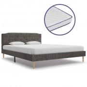 vidaXL Легло с матрак от мемори пяна, тъмносиво, плат, 140x200 см