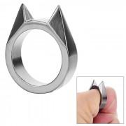 Anillo de dedo de ventana roto de aleacion de cinc del oido del gato de FURA - negro plateado