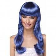 Geen Glamour blauwe pruik voor dames