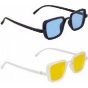 Eyevy Wayfarer, Rectangular, Over-sized, Sports, Retro Square, Wrap-around Sunglasses(Blue, Yellow)
