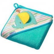 Бебешка хавлия с качулка и гъба за баня TERRY - зелена, 142 02 BabyOno, 5901435406915