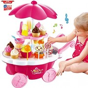 HALO NATION® Icecream Shop - Shopping Cart Minimarket Toy Set for Kids with Lights and Music