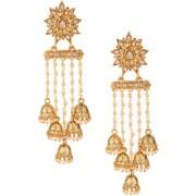 Pourni exclusive Designer American Diamond Earring with dangling jhumkas -KRER31
