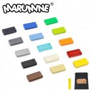 MARUMINE 600PCS Tile 1 x 2 Building Blocks Bulk Brick 3069 MOC Bricks DIY Toys Educational Mass Pack for Children Gifts