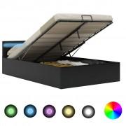 vidaXL Легло повдигащ механизъм с LED черно изкуствена кожа 120x200 cм