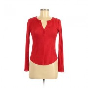 BP. Long Sleeve Top Red Solid V-Neck Tops - Used - Size X-Small
