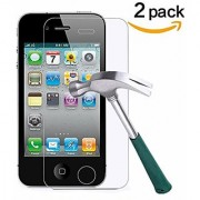 TANTEK Tempered Glass Screen Protector for Apple iPhone 4/4S Clear 2 Pack