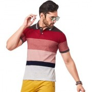 Kundan Exclusive Men's 100% Pure-Cotton Polo Neck T Shirt in Stripe Pattern ( Pack of 1 T Shirt for Men )