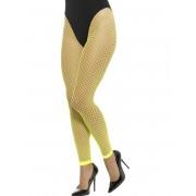 Deguisetoi Collants résille grande maille sans pieds jaune fluo femme