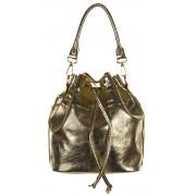 Kis méretű arany színű bugyor jellegű bőr női táska