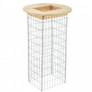 [pro.tec] Mesa - gavión - madera auténtica - mesa alta con cesta de piedras