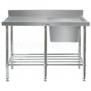 Simply Stainless Sink Bench 1800 W x 600 D with Single Right Bowl and 100mm Splashback