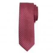 Keskeny nyakkendő sötétkék és piros színben, finom mintával 9811