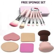 BELLA HARARO Metal Synthetic Makeup Brushes (Set of 7) Face Contour Brush Blusher Brush with Sponge Makeup set 6