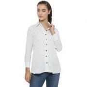 ENCHANTED DRAPES White Polkadot Shirt Collar Regular Shirts For Women