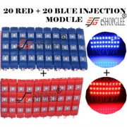 Eshopglee 3 LED DC 12V Waterproof Injection Led Modules Light 5630/5730 SMD - 20+20 Module (Blue+RED) + Free 12v Dc Adaptor