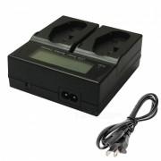 Ismartdigi LPE4 LCD Cargador Dual para Canon LP-E4 LPE4 LPE-4 - Negro