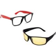 Likeked Rectangular, Wrap-around Sunglasses(Yellow, Clear)