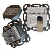 TN-CAT6A EK50vpws (5 Stück) - Anschlussdose Kat6A design 2xRJ45,EK-D,vk,pws TN-CAT6A EK50vpws
