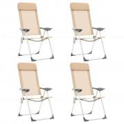 vidaXL Сгъваеми къмпинг столове, 4 бр, кремави, алуминий