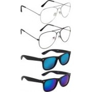 NuVew Aviator, Wayfarer Sunglasses(Blue, Green, Clear, Green, Blue, Red)