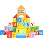 Cutoy 50 Pieces Alphabets Numbers Wooden Building Block Stacking Blocks Set with Carrying Bag for Kids Toddlers
