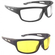 Ivy Vacker Yellow & Black Night Vision Free-Size Full Rim Wrap-around Polycarbonate Unisex Sunglasses - Pack Of 2