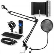 auna MIC-900B-LED USB, комплект микрофони, V5, черен, кондензаторен микрофон, поп филтър, акустичен екран, дръжка (60001971-V5)