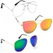 Sulit Aviator, Wayfarer, Cat-eye Sunglasses(Clear, Golden, Green)