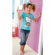 Set haine vara fete,compleu tricou si pantaloni trei sferturi Hello Kitty