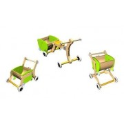 1-2-3 Grow With Me Wooden Walker/Ride-on Toy/Trolley