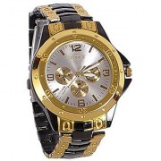 Rosara Round Dail Black And Gold Metal And Stainless Steel StrapMens Quartz Watch For Men