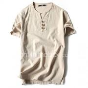 Heren Vintage Eenvoudig Lente Zomer T-shirt,Casual/Dagelijks Sportief Grote maten Effen Ronde hals Korte mouw Katoen Linnen Dun