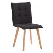 CLP Sedia sala da pranzo Miller, in tessuto, telaio color legno naturale, nero , nero, altezza seduta