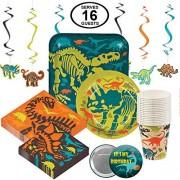 RBBZ Party Dinosaurio Dino Party Supplies Vajilla para fiesta de cumpleaños para 16 grandes fiestas paquete incluye platos de cena, platos de postre, servilletas grandes y pequeñas, tazas y remolinos colgantes