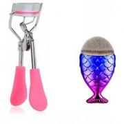 Combo Of Eyelash Curler And Makeup Brush Powder Foundation Contour Brush Fish Makeup Brush