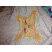 Chien Plat Doudou Nattou Bo Marron Beige Etiquettes Orange Marionnette Peluche
