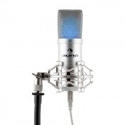 MIC-900-LED USB Condensatore Microfono Argento Rene LED